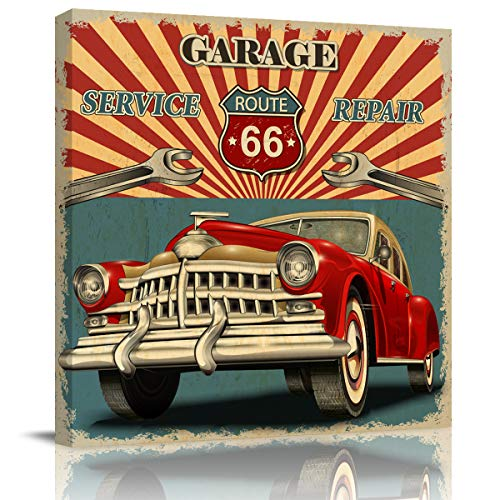 Canvas Print Wall Art Vintage Car Service Repair Route 66 Stretched and Framed Modern Giclee Artwork for Office/Livingroom/Bedroom/Hallway 28x28in]()