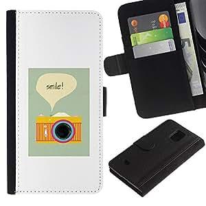 KingStore / Leather Etui en cuir / Samsung Galaxy S5 Mini, SM-G800 / Sonrisa de la cámara del fotógrafo cartel Vignette