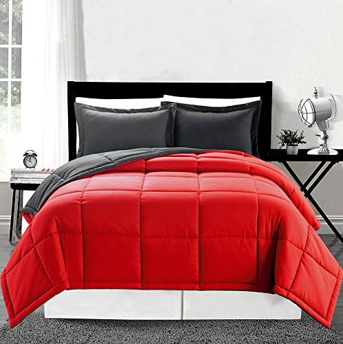 3 piece Luxury Red / Grey Reversible Goose Down Alternative Comforter set, Full / Queen with Corner Tab Duvet Insert Red Queen Comforter