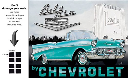 1957 Football (Shop72 - Vintage Tin Sign 1957 Chevy Bel Air Metal Sign Poster Garage Sign - With Sticky Stripes . No Damage to Walls)