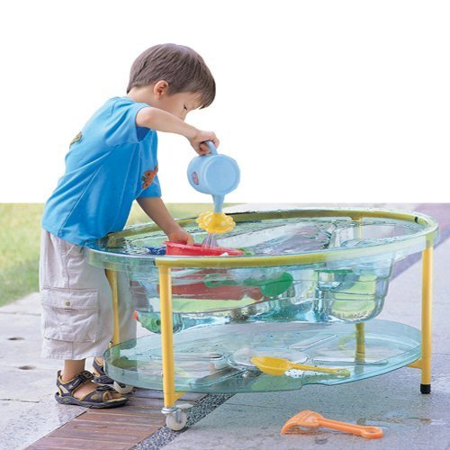 Constructive Playthings 35'' L. x 25'' W. x 20 1/2'' H. Transparent Sand & Water Table with a Variety of Depths, Adjustable Stand (17'' to 22'' H.), Locking Casters and See-Thru Lid for Ages 2 Years and Up