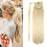 LaaVoo 18'' Wrap Around Human Hair Ponytail Clip in Hair Extensions One Piece Color #60 Light Blonde Long Straight for Women Fashion 80Grams