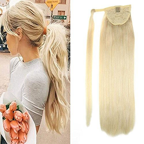 "LaaVoo 20"" Pony Tail Blonde Hair Extensions Brazilian Remy Human Hair Silky Straight Color #60 Light Blonde Ponytail Hair 100 Grams One Piece"