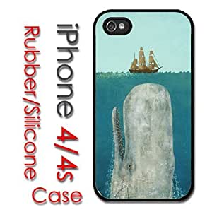 iPhone 4 4S Rubber Silicone Case - Moby Dick Huge Whale under Boat Case by icecream design