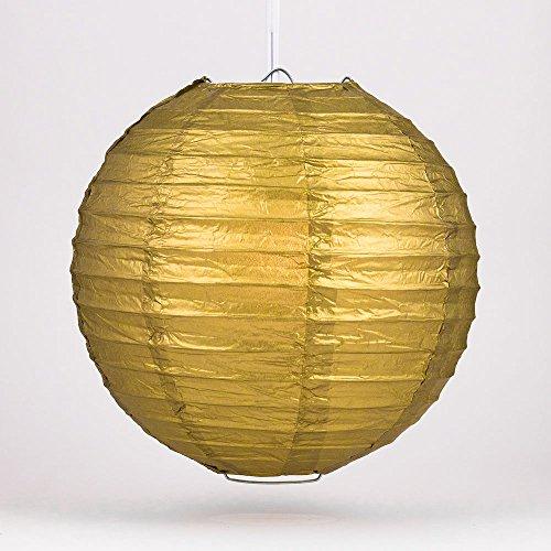 Quasimoon-8-Gold-Round-Paper-Lantern-Even-Ribbing-Hanging-Decoration-10-Pack-by-PaperLanternStore