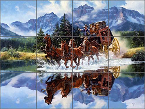 Western Art Ceramic Tile Mural Backsplash - The Shortcut by Jack Sorenson (24