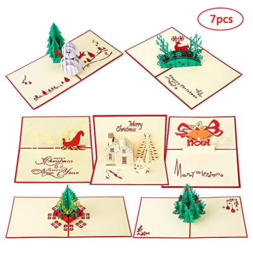 MISS FANTASY Christmas Greeting Cards 3D Christmas Pop Up Cards Xmas Gift Cards New Year Greeting Cards Pack with Envelopes and Sealing Stickers Pack of 7 (7 Greeting Cards) (E Greeting Cards For Christmas And New Year)