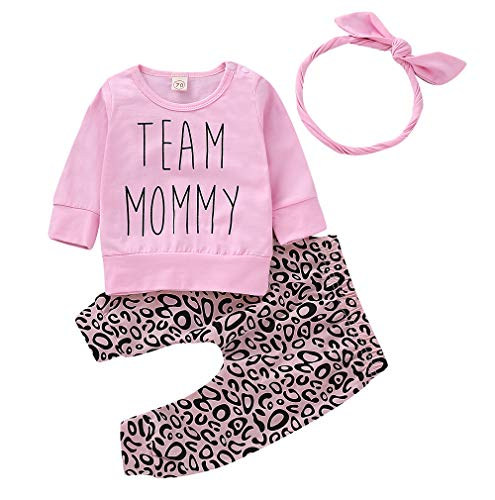 Inflant Baby Girl Leopard Outfit Long Sleeve Team Mommy Shirts Tops Long Pants Heaband Clothes (12-18 Months, Pink)