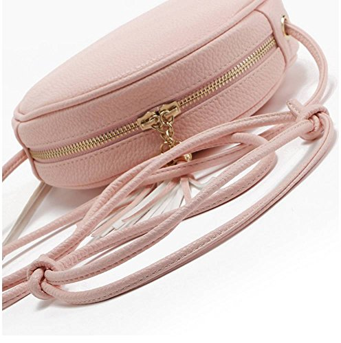 Pendant Shoulder Zipper White Double Round Bag Tassel Bag Leather Badiya Mini Body PU Cross FqOfwzv