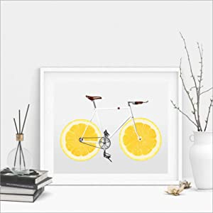 Canvas Painting Home Decoration Wall Painting Cycling Art Decor Posters Prints Bicycle Lemon Wall Picture Nordic Art Scandi Canvas Print Healthy Life Fitness Wall Decor-60x80cm