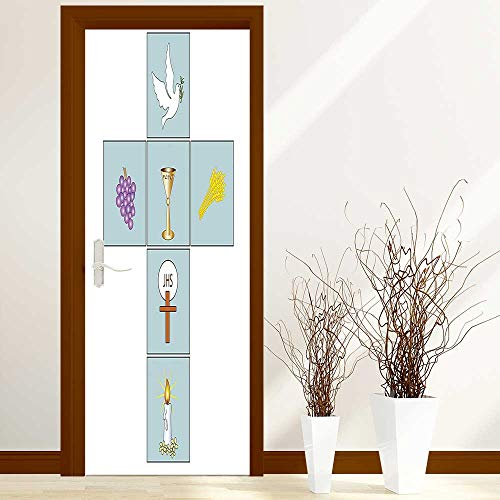 Christs Tears - L-QN Renovation Waterproof Door Stickers Baptismal Cross Bible Faith Believing Greeting Welcoming Baptize Basin Christ Art Made from Tear-Proof, Washable, W23 x H70 inch