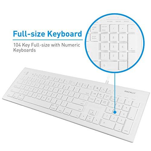 51Ucjo7%2BfSL - Macally Full Size USB Wired Keyboard (MKEYE) for Mac and PC (White) w/ Shortcut Hot Keys