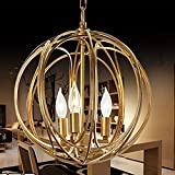Ceiling Pendant Light Chain Droplight Iron Hanging Fixtures Hand-made Gold Foil Painting Round Shape Modern Chandelier Indoor Decorative Lamp 3 Lamp L17.7x H18.1xW17.7 Inches UL Listed-L Size