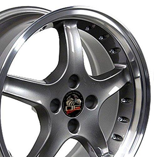 (OE Wheels 17 Inch Fit Ford Mustang 4 Lug Cobra R Deep Dish Anthracite Mach'd Lip w/Rivets 17x8 Rims SET)