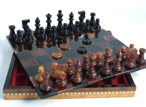 Alabaster Wood Frame Chess Set in Black / Brown by Worldwise Imports