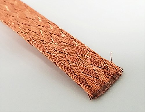 Flat Bare Copper Braid, Bright, 1/4