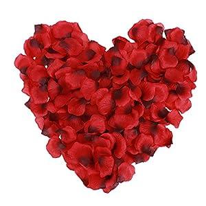 Jasmine 1000 Pieces Non-Woven Rose Petals Wedding Rose Petals for Wedding Confetti Valentine Flower Deor,Red/Dark Red