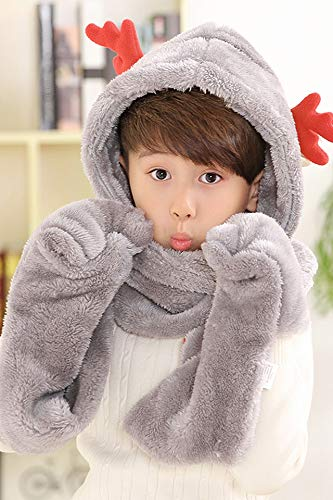 Unique Winter Cute Antlers hat Cap Scarves Gloves Three-Piece Women Girls Childrens Parents Installed Thicker one Girl Collar Tide Children Three-Piece Christmas Deer - Snow Bud co