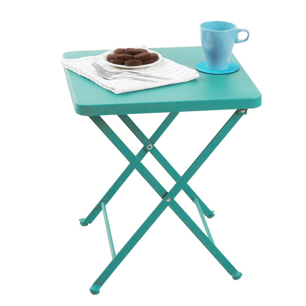 PHI VILLA Outdoor Folding Bistro Table- Patio, Porch Metal Side Table, Turquoise