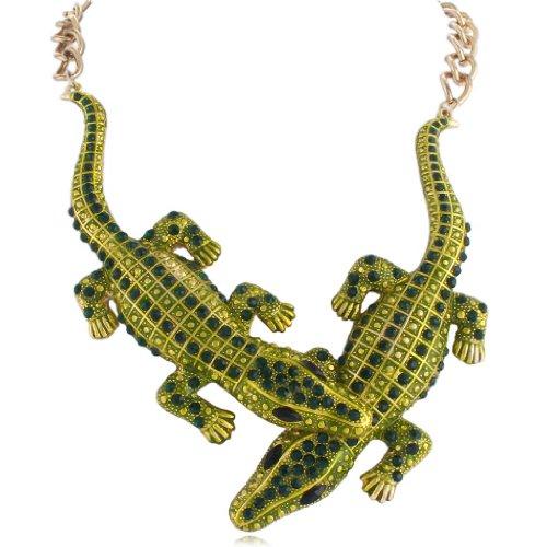 EVER FAITH Austrian Crystal Enamel Art Deco 2 Crocodile Necklace Emerald Color Gold-Tone - Celebrity Couples Halloween