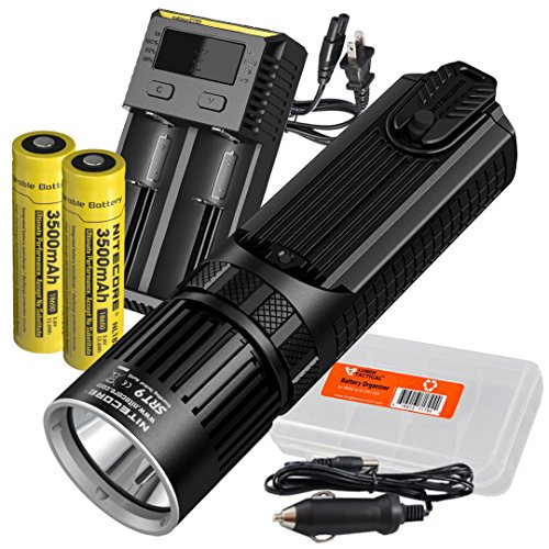 Nitecore SRT9 2150 Lumen Multi-LED Smartring Tactical Flashlight (White, Red, Blue, Green, & UV) PLUS 2x 3500mAh 18650 Batteries, Nitecore i2 (2016) 2-Port Charger & LumenTac Battery Organizer by Nitecore