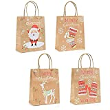 GWHOLE 12 Pcs Xmas Paper Party Bags Kraft Gift Bag Tote Treat Bag with Handle for Christmas Birthday, Wedding, Baby Shower, Bridal Shower