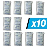 10 x 10 gr. E-Cron Silica Gel Tyvek Packets. Pure, Safe and Reusable Silica Gel Sachets Desiccant. Renewable Dehumidifier Pouches - Absorb Moisture.