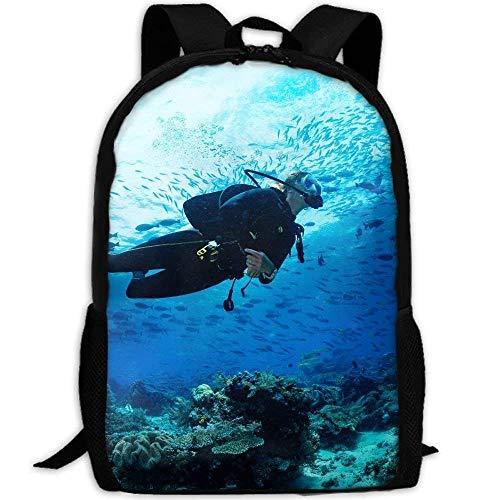 Backpack Girl Scuba Diver Diving On Tropical Reef Womens Laptop Backpacks School Bag Travel Daypack