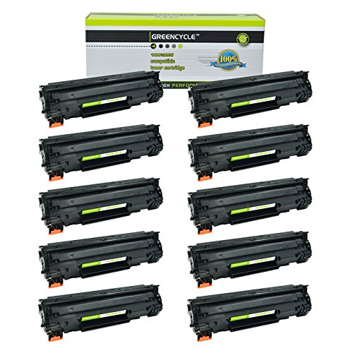 GREENCYCLE 10 Pack Black Cartridge Compatible for HP 85A CE285A CE285 Toner Cartridge for HP Laserjet Pro P1102W P1102 P1100 M1212NFW M1212NF M1210 M1132 M1130 Laser Printer 10k Compatible Toner Cartridge
