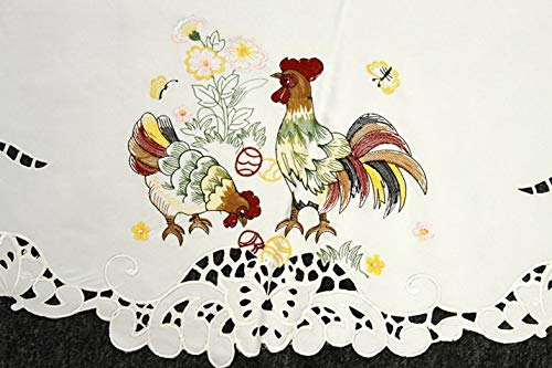 Mikash Easter Embroidered Embroidery 72 Round Tablecloth Chicken Rooster Egg Elegant | Model TBLCLTH - 517