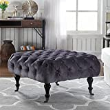 Classic Tufted Velvet Footrest / Footstool / Ottoman with Casters (Grey)