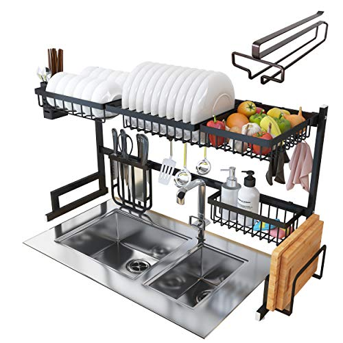 (Over Sink Dish Drying Rack - Kitchen Organizer and Dish Drainer with 7 Interchangeable Racks and Caddies - Plus Bonus Wine Glass Rack That Mounts to Cabinetry)