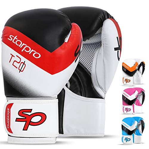 Boxing Gloves for Men & Women Training Sparring Kickboxing UFC MMA Muay Thai Pro Punching Fight Heavy Bag Mitts (Black/White, 14oz)
