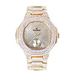 Bling-ed Out Oblong Metal Mens Color on Blast Watch - 8475GoldColor (Gold)