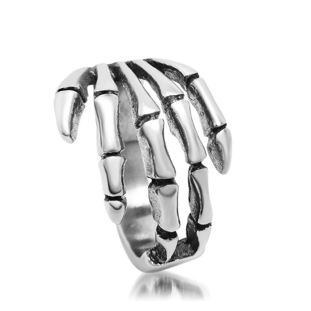 Adisaer Ring Stainless Steel for Men Vintage Finger Rings Gothic Halloween Ghost Skull Head Size N 1/2-X 1/2