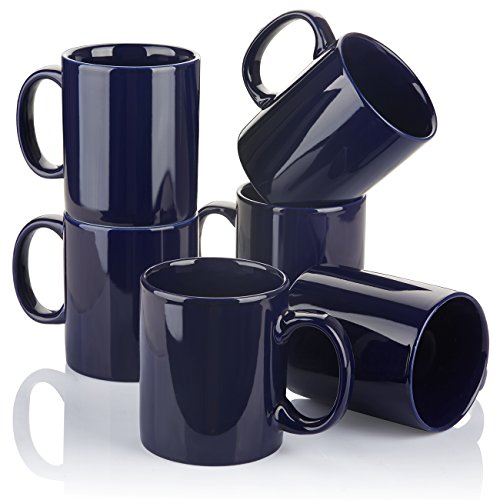 YHY Coffee Mug Set Porcelain Coffee Cups - 12OZ for Coffee Drinks, Latte, Cafe Espresso Tea - Set of 6, Navy Blue (Porcelain 12 Ounce Mug)