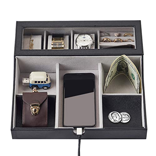 - NEATOPA Valet Tray - Men Jewelry, Keys, Watch Nightstand Organizer for Perfect Life On Table Valet Box Made of Black PU Leather, Velvet with Charging Station (10 Compartment)