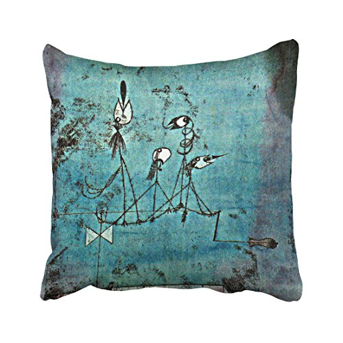 Twittering Machine - Emvency Throw Pillow Case Dec Xmas Paul Klee Art Twittering Machine Pillow Case Cushion Cover Case Pillowcases Square 18x18 inch