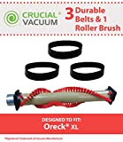 Highly Durable Brush Roller & 3 Belts for Oreck XL Vacuums; Compare to Part Nos. 030-0604, XL010-0604, 016-1152, 7520201; Designed & Engineered by Crucial Vacuum