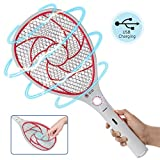 Bug Zapper Racket,Electric Fly Swatter,Rechargeable Mosquito Fly Killer - USB Charging - 3000 Volt - Bright LED Light - Unique 3-Layer Safety Mesh Safe(Red)