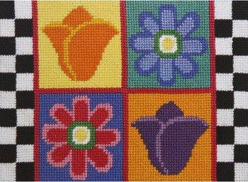 Daisy Checkerboard (Daisies & Tulips - Needlepoint)