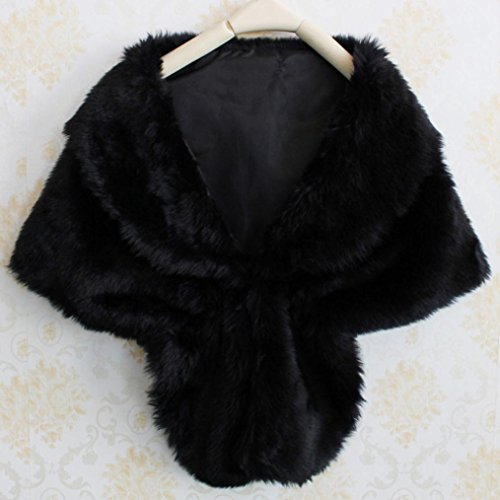 Wrap Donna Scialle Perfetto Elegante Partito Matrimonio Faux Scarfcape Fur Spettacolo Shawl Nero Per Long Stole Fashion Hiroo Shrug zwqUz