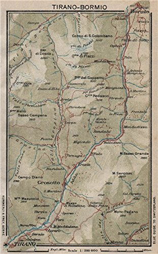 Bormio Italy Map.Fiume Adda Tirano Bormio Grosotto Via Stelvio Vintage Map Plan