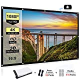 100 Inch Projector Screen - Portable Projector Screen 100 inch, 16:9 Foldable Anti-Crease HD 3D Indoor and Outdoor Projector Movies Screen, Support Double Sided Projection