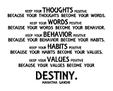 Mahatma Gandhi Motivational Quote Vinyl Wall Art : 28'' x 22'', Non-Toxic, Mess Free, Made in USA Decor Sticker. Best for Your Home Living Room, Kitchen or Bedroom. - BLACK