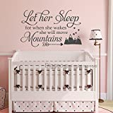 Diggoo Wall Decal Kids Let Her Sleep for when She wakes She will move Mountains Wall Decal Quote Girls Nursery Decor (Gray,27'' h x 46'' w)