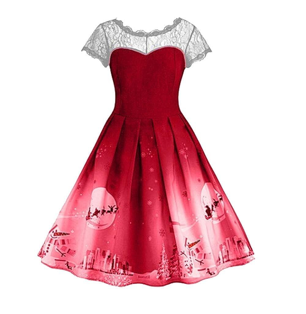 Style de Jeunesse Fantaisiez Robes de Noël Vintage Femmes Imprimé Manche Courte Patchwork Dentelle Robe de Soirée de Festival Mode Bleu Vert Rouge