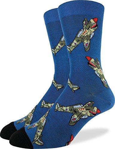 Luck Jet - Good Luck Sock Men's Fighter Jets Crew Socks - Blue, Shoe Size 7-12
