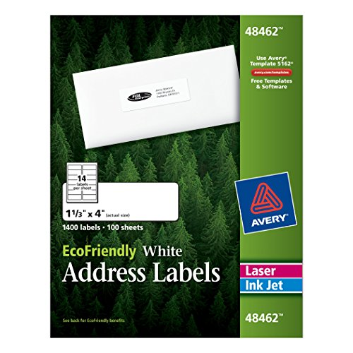 Avery EcoFriendly Address Labels, 1.33 x 4 Inches, White,...
