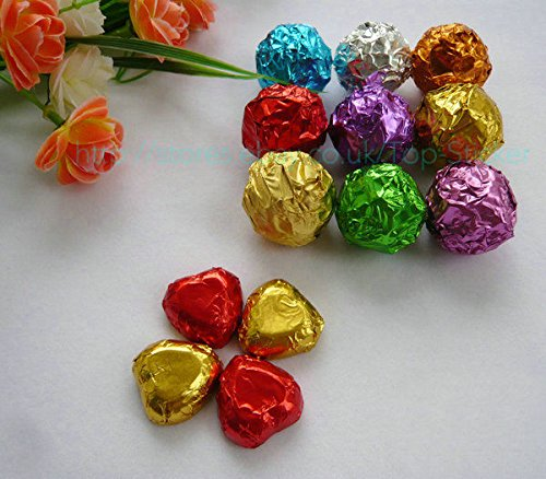CYNDIE 100 Pcs Square Foil Wrappers for Candy Chocolate Sweets Confectionary 8x8 Main Colour:green